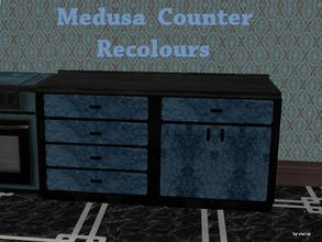 Sims 2 — Medusa Kitchen - Counter Recolour by staceylynmay2 — Blank marble top and sides, blue marble draws. Thanks to