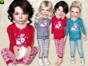 Sims 3 — Snow Bunny Pajama by lillka — Cute Snow Bunny Pajama for toddler girls. Everyday/Sleepwear 3 styles/3