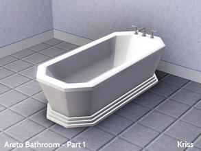 Sims 3 — Areto Bathroom Bathtub by Kriss — Glamour and elegance go hand in hand in this octagonal shaped art deco