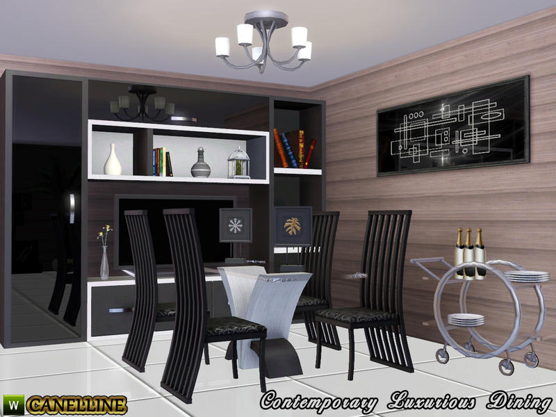 Canelline 39 s contemporary luxurious dining room decor books for Sims 3 dining room ideas