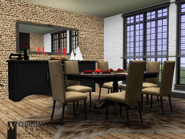 Wondymoon 39 s christmas 2013 dining room for Sims 4 dining room ideas