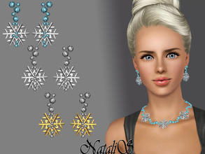 Sims 3 — Snowflakes with crystal earrings FT-FA by Natalis — Shining crystals and shimmering snowflakes ... Amazing