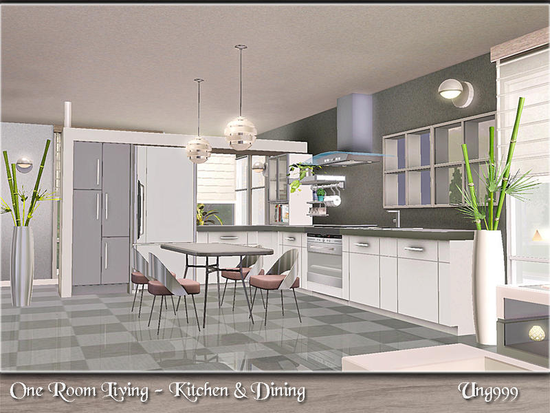 Ung999 39 s one room living kitchen dining for Sims 3 kitchen ideas
