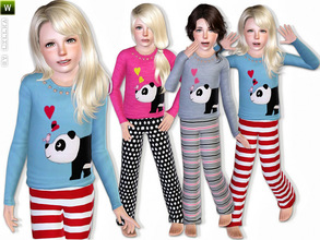 Sims 3 — Panda Pajama - Set by lillka — This set includes: Panda pajama top and pants I hope you like it :) Hair see