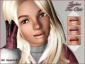 Sims 3 — Shiny Gloss for Child by MartyP — ~3 recolourable chanels. ~Thumbnail for CAS and launcher ~Lip gloss for child