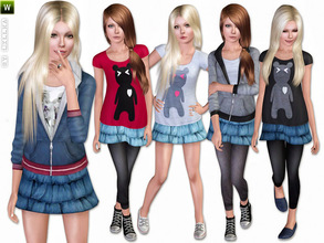Sims 3 — (Teen) Sporty in Denim - Set by lillka — This set includes: Shirt, Hoodie, Skirt with and without Leggings for