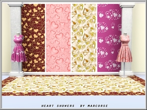 Sims 3 — Heart Showers_marcorse by marcorse — 4 themed patterns with a heart motif in various shades from cream to pink