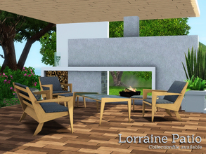 Sims 3 — Lorraine Patio by Angela — Lorraine Patio, a set of modern/ contemporary patio furniture for your sims to enjoy.