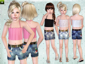 Sims 3 — Crop Top & Star Denim Shorts by lillka — This set includes summer top and shorts for girls. I hope you like