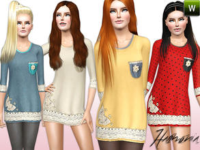 Sims 3 — Lace-Detail Applique Tunic by Harmonia — Custom Mesh By Harmonia 4 Variations. Recolorable Stay stylish on