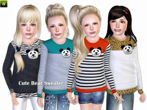 Sims 3 — Cute Bear Sweater by lillka — Cute sweater with panda bear head Everyday/Formal/Sleepwear/Athletic 4 styles/2