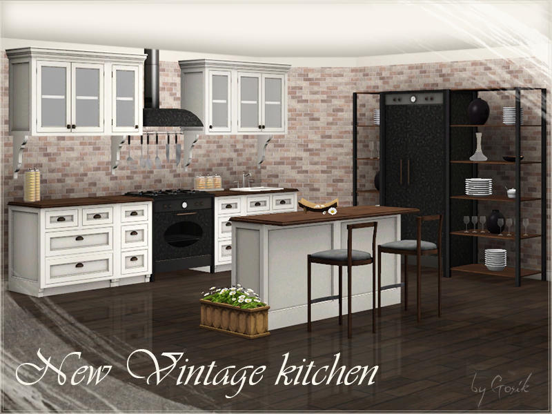 Gosik 39 s new vintage kitchen part 2 for Sims 3 kitchen ideas