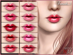 Sims 3 — Lipstick N33 by TsminhSims — New realistic lipstick for your sims. - Four recolor chanels - Full CAS Thumbnails