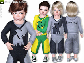 Sims 3 — Elephant Hoodie & Jogging Pants by lillka — This set includes hoodie and pants for toddler girls and boys.