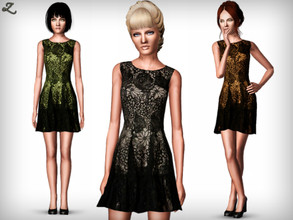 Sims 3 — Lace Designer Dress by zodapop — Lace dress inspired by Designer Anna Sui. It features pretty floral patterning