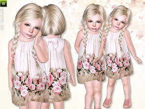Sims 3 — Flowing Beige Dress by lillka — Beige dress with a flower-printed bottom part Everyday/Formal Not recolorable I