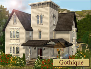 Sims 3 — Gothique by Demented_Designs — A gothic home for the small family, with two bedrooms, 3 baths, pool side