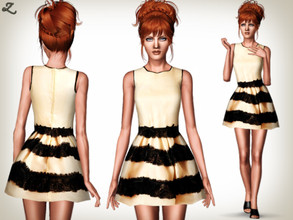 Sims 3 — Lace Embellished Designer Dress by zodapop — This lace embellished dress features delicate bow embroidery. It is