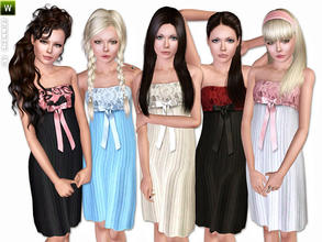 Sims 3 — (Teen) Pleated Dress by lillka — Pleated Dress for teen girls Everyday/Formal/Sleepwear 5 styles/recolorable I