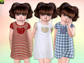 Sims 3 — Baby Girl Cotton Dress by lillka — Cute Dress for Toddler Everyday/Formal/Sleepwear 3 styles/recolorable I hope