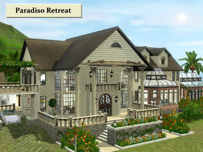 Sims 3 — Paridiso Retreat by Demented_Designs — A tropical villa with tons of outdoor entertaining, a greenhouse, ocean