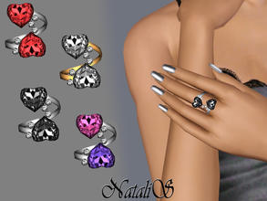 Sims 3 —  Two Hearts Twisted Rings FT-FA by Natalis — Twisted ring with two sparkling crystals in the shape of heart.