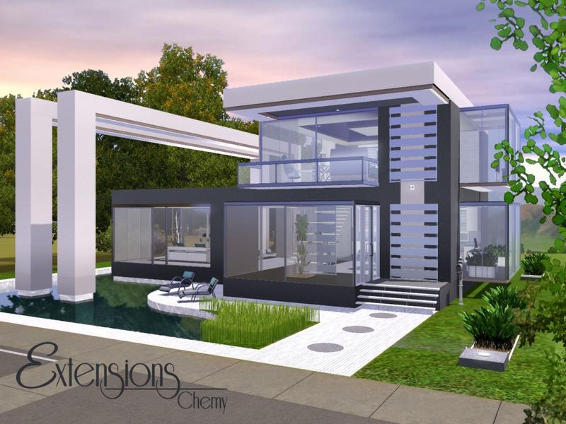 Chemy 39 s modern extensions for Big modern house sims 4