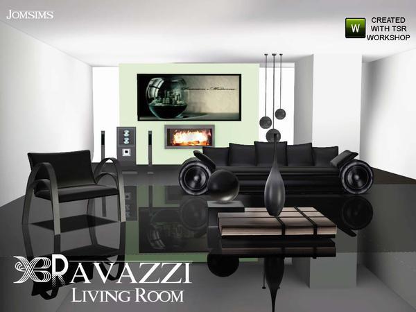 Jomsims 39 ravazzi livingroom for Modern living room sims 4
