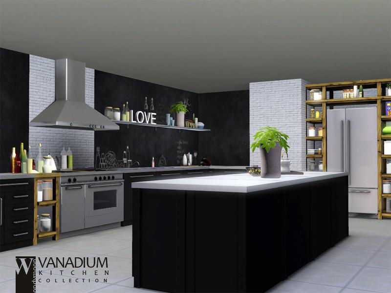 Wondymoon 39 s vanadium kitchen for Kitchen set sims 4