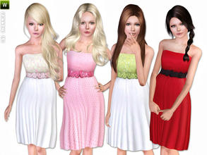 Sims 3 — (Teen) Dress with Flower-Printed Belt by lillka — Summer dress with flower-printed belt for teen girls.