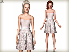 Sims 3 — Leather & Lace Dress by zodapop — A masterpiece of modern-ladylike style, this strapless dress features a