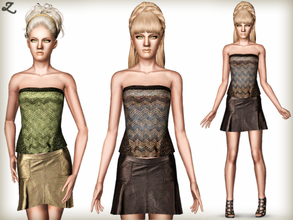 Sims 3 — Patterned Knit Tube Top & Leather Lochdon Skirt by zodapop — Zigzag pattern knit tube top and pretty flared