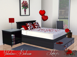 Sims 3 — Valentines Bedroom by Lulu265 — A scattering of rose petals, some chocolates, red roses and balloons make this