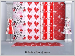 Sims 3 — Valentine's Day_marcorse by marcorse — Four Valentine's Day Themed patterns in red and white.