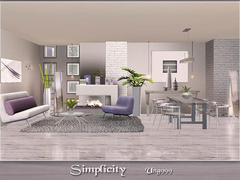 Ung999 39 s simplicity for Modern living room sims 4
