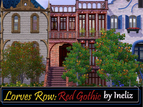 Sims 3 — Lorves Row: Red Gothic by Ineliz — If your sims want to move in to a house with gothic exterior and creepy, dark