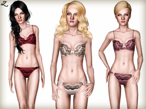 Sims 3 — Bella Lingerie by zodapop — Rendered in luscious silk satin and premium French Leavers lace, this lingerie set