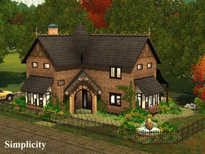 Sims 3 — Simplicity by Demented_Designs — This unique cottage comes with 2 bedrooms, 2 and a half bathrooms, and pool