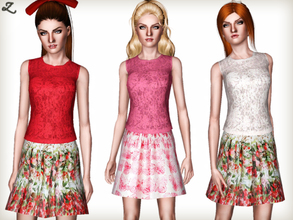 Sims 3 — Fashion Set 1 by zodapop — Girly-chic knit top and Valentino inspired printed skirts. Perfect for the upcoming