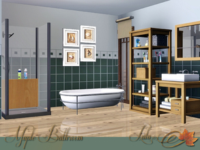Sims 3 — Maple Bathroom by Lulu265 — A charming warm bathroom with wood accents.Variations in both maple wood and black