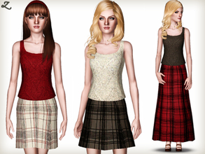 Sims 3 — Fashion Set 2 by zodapop — Suede knit top with a choice of a checked aline maxi or a shorter skirt. ~ New meshes