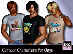 Sims 3 — Cartoon Characters T Shirt For Guys by DK_LTD — Short-sleeved cartoon characters t shirt for the guys, the