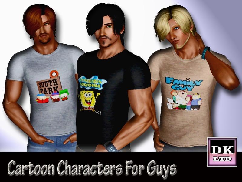 Sims 3 Cartoon Characters : Dk ltd s cartoon characters t shirt for guys