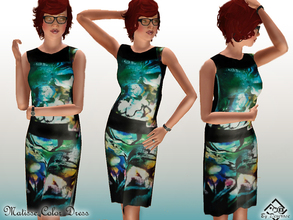 Sims 3 — Matisse Color Dress by Devirose — Green and black!Do not recolorable.Base Game Compatible. No need EP- Enjoy^^