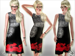 Sims 3 — Calipso Dress by Devirose — Red,white and black!Do not recolorable.Base Game Compatible. No need EP- Enjoy^^