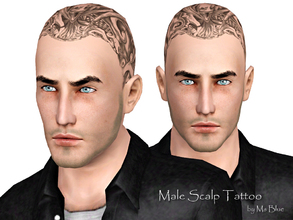 Sims 3 — Male Scalp Tattoo by Ms_Blue — Time to rough it up a bit and get the ultimate bad boy look with this scalp