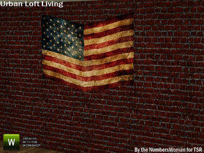 Sims 3 — Modern Urban Rustic Loft Living Flag by TheNumbersWoman — Urban life, urban times, urban living.The NumbersWoman