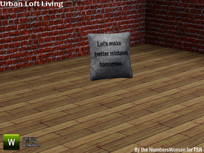 Sims 3 — Modern Rustic Loft Living Sofa Pillow 2 by TheNumbersWoman — Urban life, urban times, urban living.The