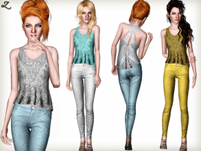 Sims 3 — Fashion Set 4 by zodapop — Step into spring with this new set featuring a sequin embellished top and baroque