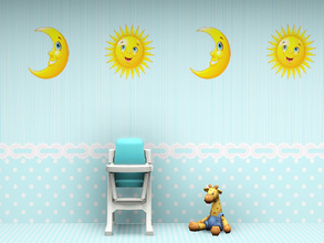 Sims 3 — Babys Nursery Wall 5 by Wimmie — 2 walls in one file with cute sun and moon motifs. These walls are perfect for